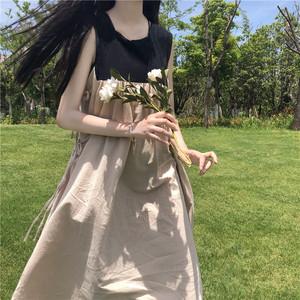小个子150夏季裙子套装森女日系带拼接背心连衣裙兔耳朵内搭衬衣