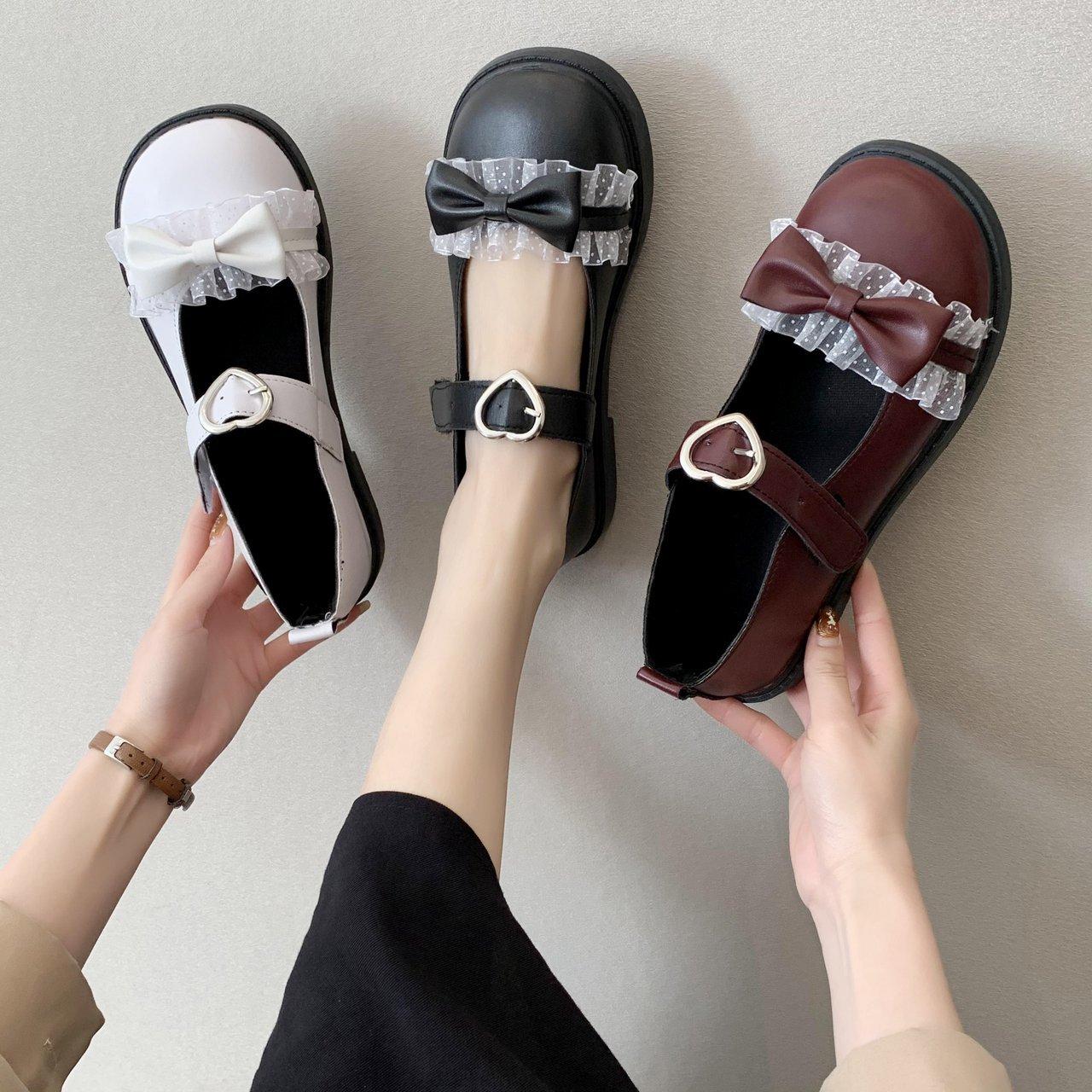 英伦风小皮鞋女2021新款蝴蝶结洛丽塔日系jk魔术贴复古玛丽珍单鞋