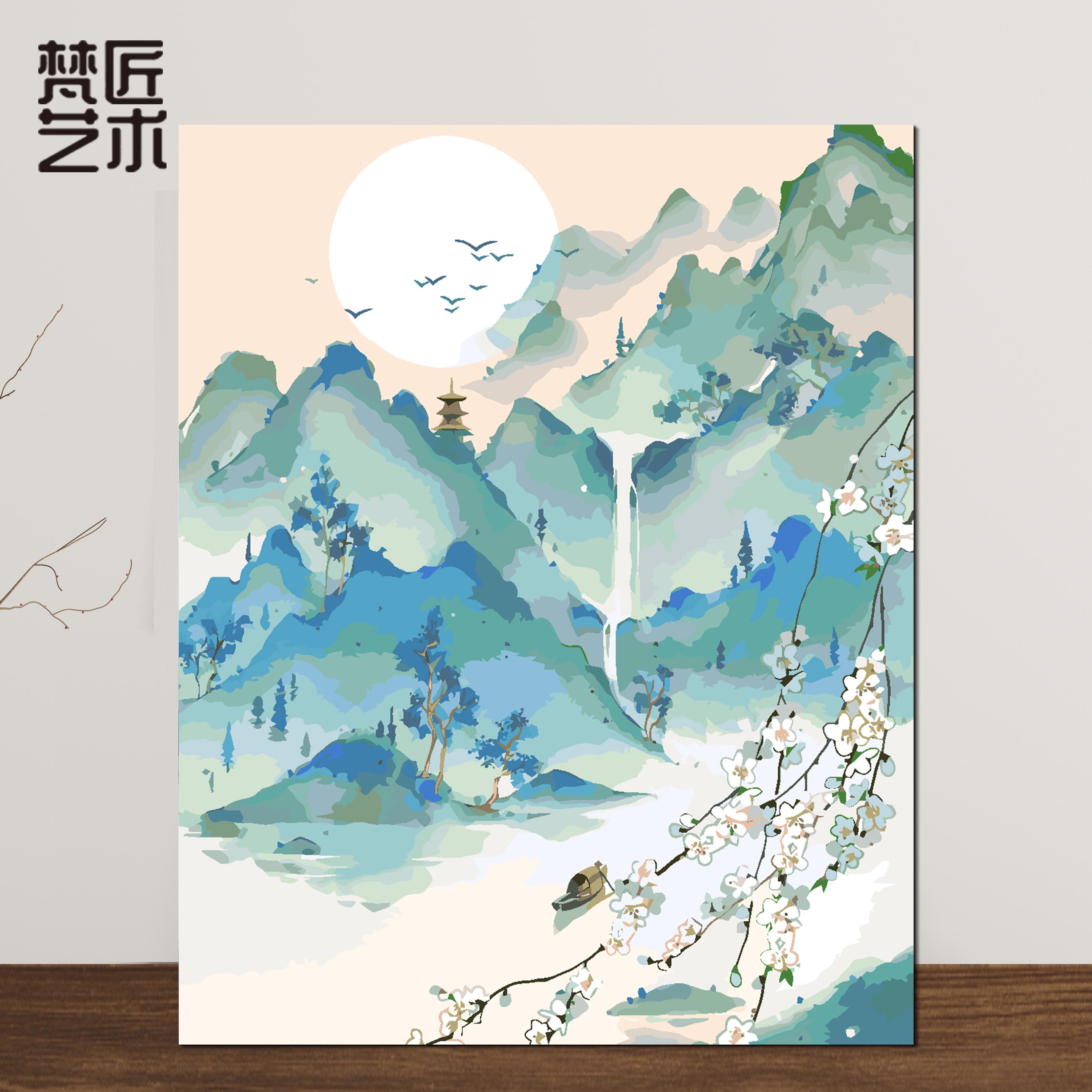 填充減壓裝飾畫手工繪畫DIY國風山水人物客廳風景填色畫數字油畫