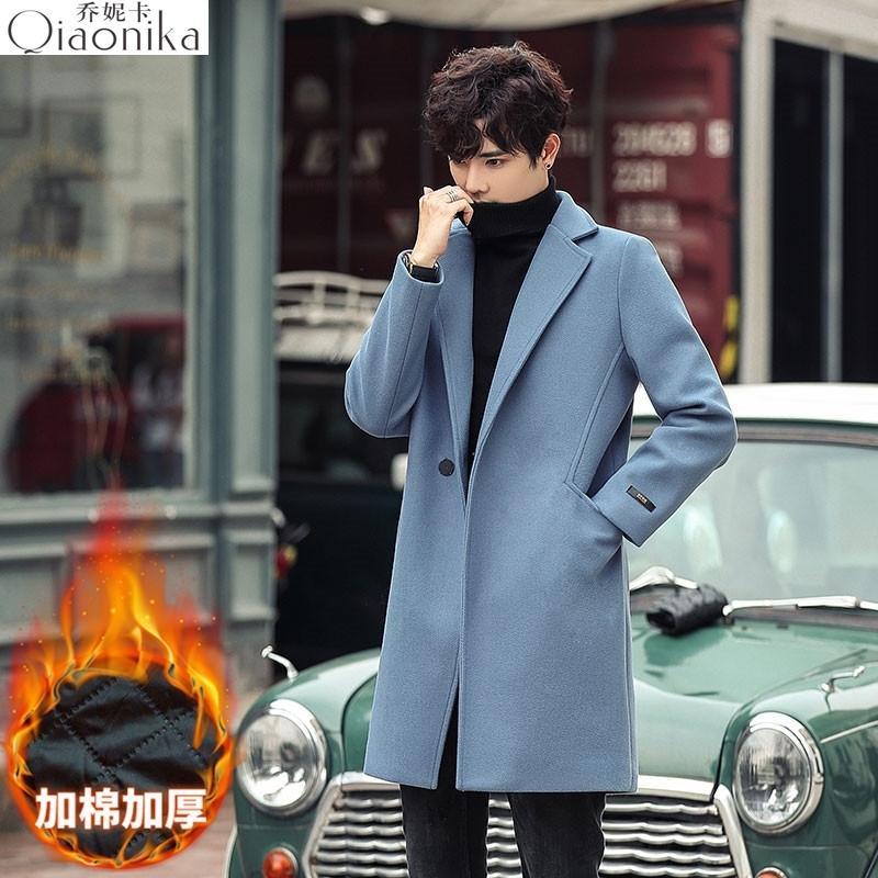 Haze denim blue woolen coat mens medium and long Polo fur windbreaker suit collar away from mud and greasy pear coat