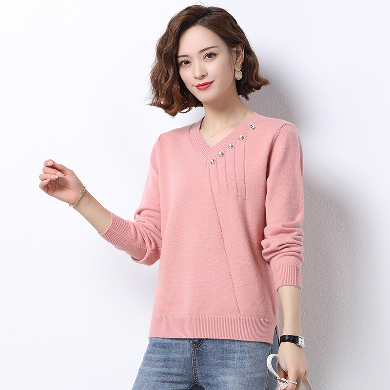 Womens V-Neck Sweater loose wear spring and autumn clothes