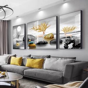 现代客厅沙发背景墙装饰画简约餐厅挂画三联组合壁画北欧麋鹿山水