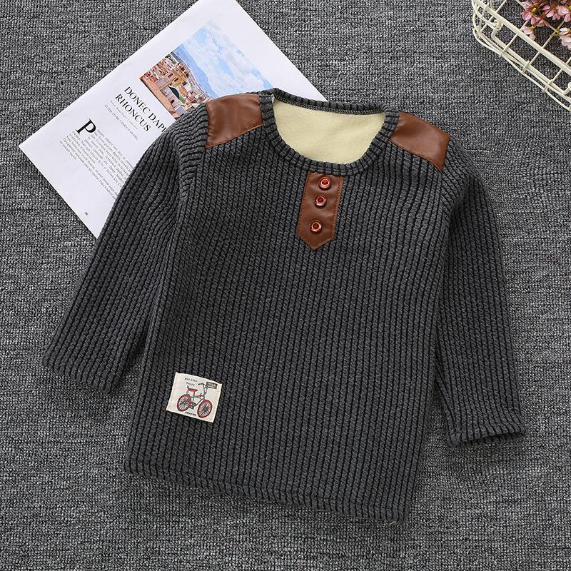 男童保暖上衣秋儿童保暖卫衣打底衫女童加绒上衣婴儿秋冬季衣服