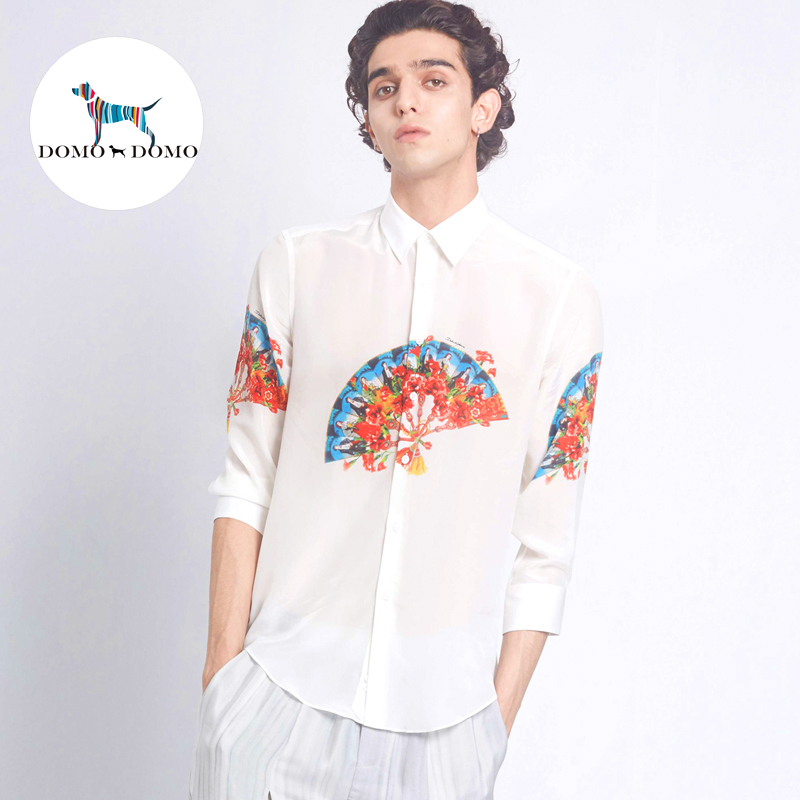 Domo mens silk shirt silk classic art print mulberry silk fan shirt designer custom long sleeve