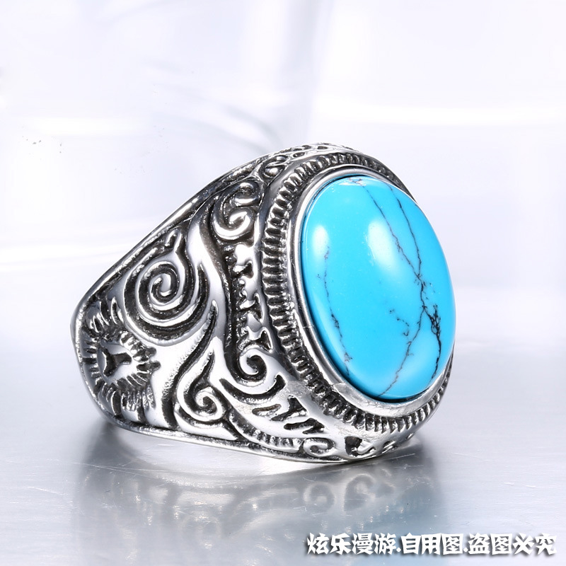 Cosplay accessories titanium steel set artificial Turquoise Ring Hand Puppet accessories mens domineering ring