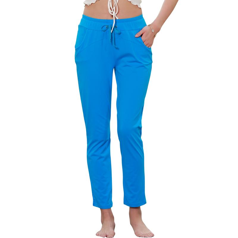 2020夏季新款彩色薄款纯棉休闲运动长裤小脚瑜伽宽松家居九分裤女