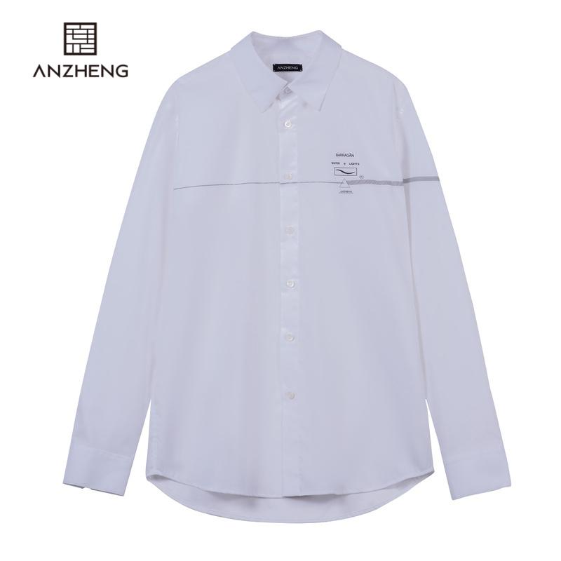 Anzheng / anzheng mens flagship store 2020 spring shopping mall same pure color cotton long sleeve fashion mens shirt