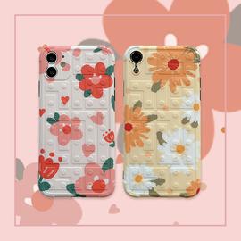 立体俄罗斯方块韩版小花朵苹果11手机壳适用iphone11ProMax油画XR/SE2/XSMAX女款X/8plus/7p软壳简约创意清新图片