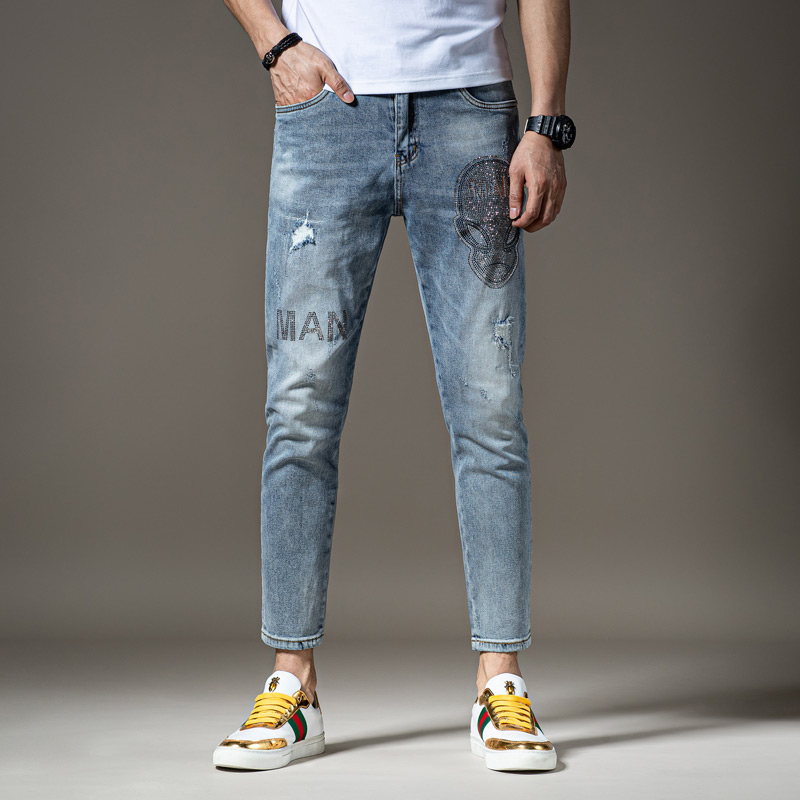 Mens printed jeans mens fashion label summer thin slim fit Capris with holes embroidery trend loose 2020