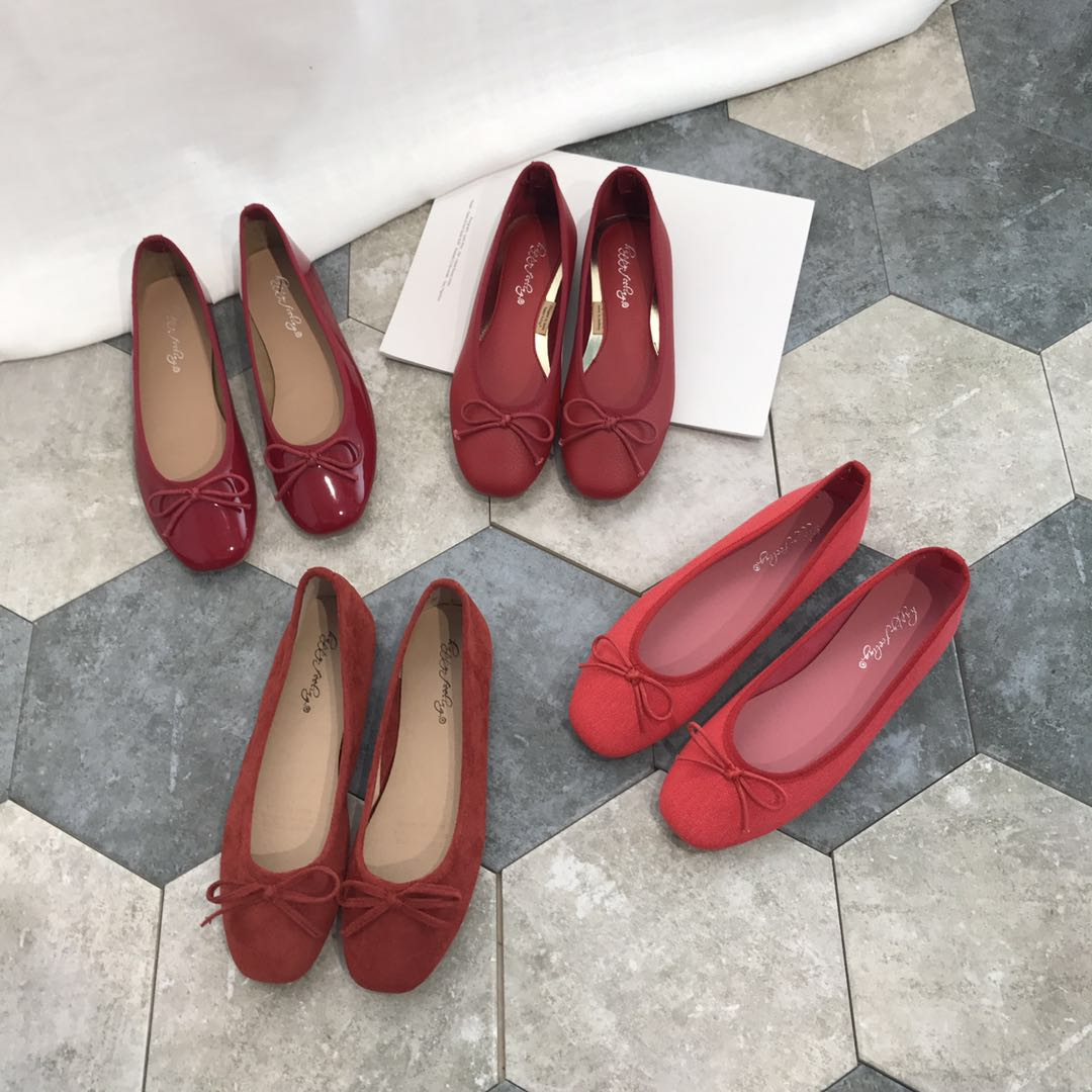 Flat bottom small red single shoes fairy shoes 2021 new summer bow shallow mouth wedding shoes ballet ladle shoes