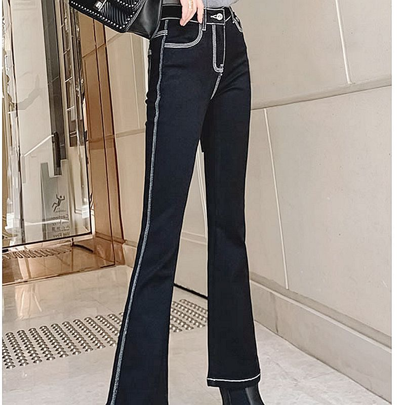 New high waist and thin straight tube open line nine point trumpet pants for womens spring wear in 2021