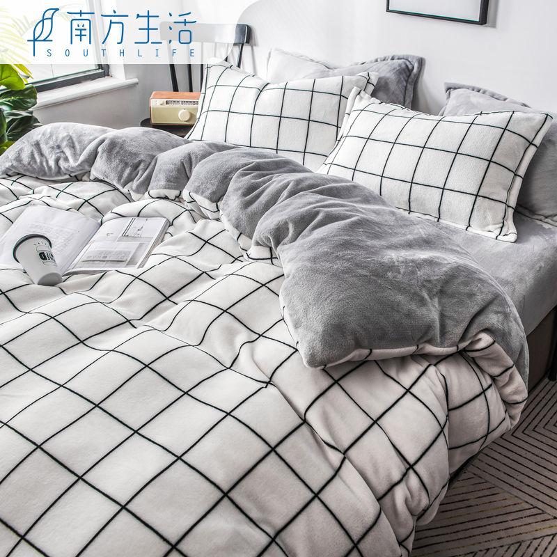 珊瑚绒四件套冬天床上用品毛绒双面加绒加厚法兰绒床单被套三件套