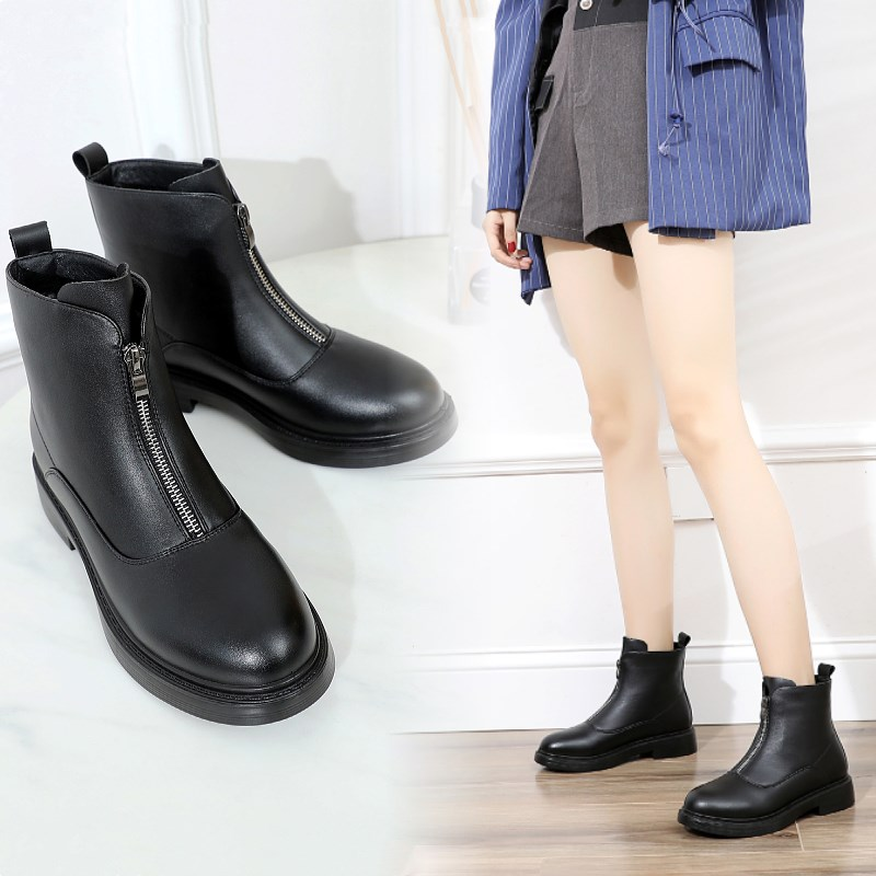 Moms short boots are really soft, leather sole is antiskid and plush, autumn and winter middle-aged womens cotton shoes, low tube ankle boots, Martin boots, front zipper
