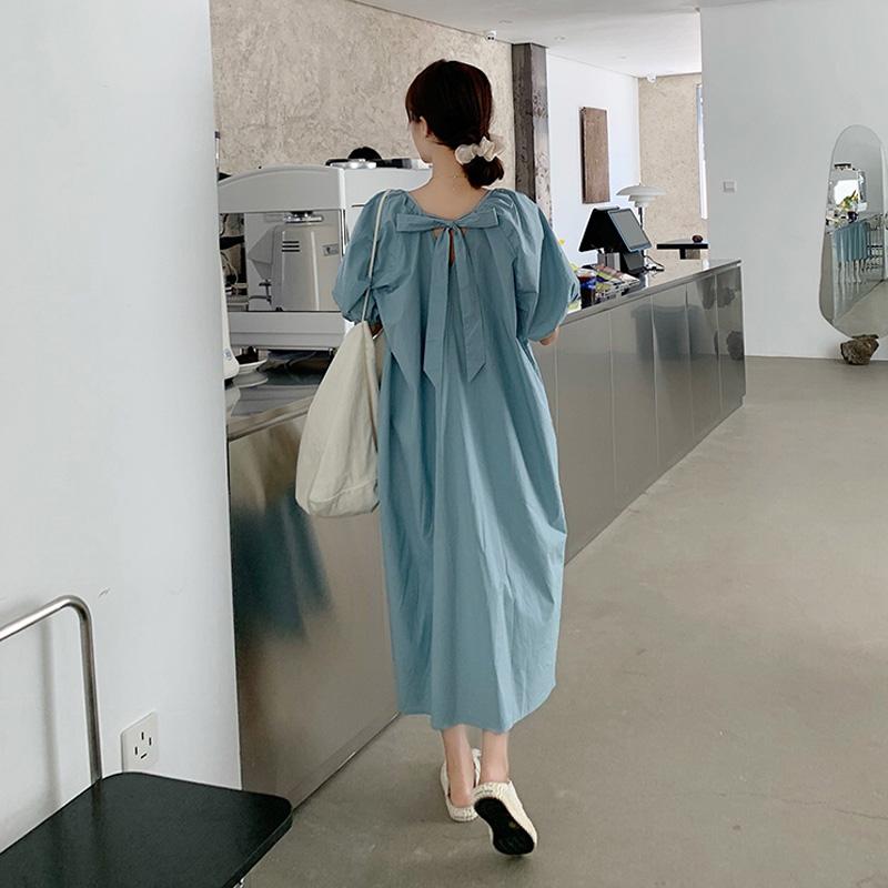 大码女装夏季韩版宽松过膝连衣裙