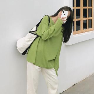 新品2020春季新款韩版百搭圆领长袖T恤女简约打底衫宽松女装.新品