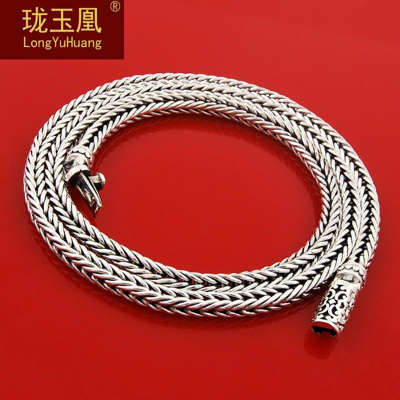 粗银链四方立体男s925纯银项链
