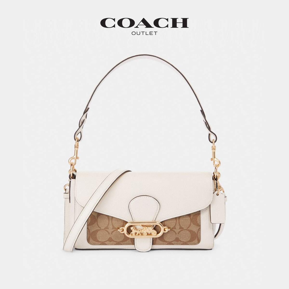 Coach / Kouchi women's classic logo old flower stitching jade small buckle portable shoulder bag