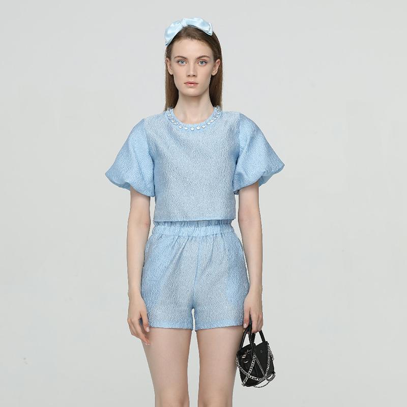 设计师Sei Carina Y蓝色亚克力珠绸缎上衣短裤2020夏季新款木兰