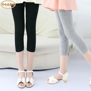 女童打底裤夏季薄款七分裤莫代尔纯色儿童中大童外穿裤子女孩中裤