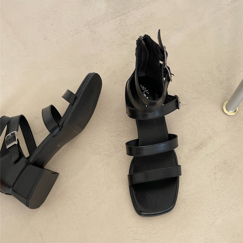 Summer new thick heel open toe sandals womens high top black versatile casual student square head belt buckle Roman womens shoes