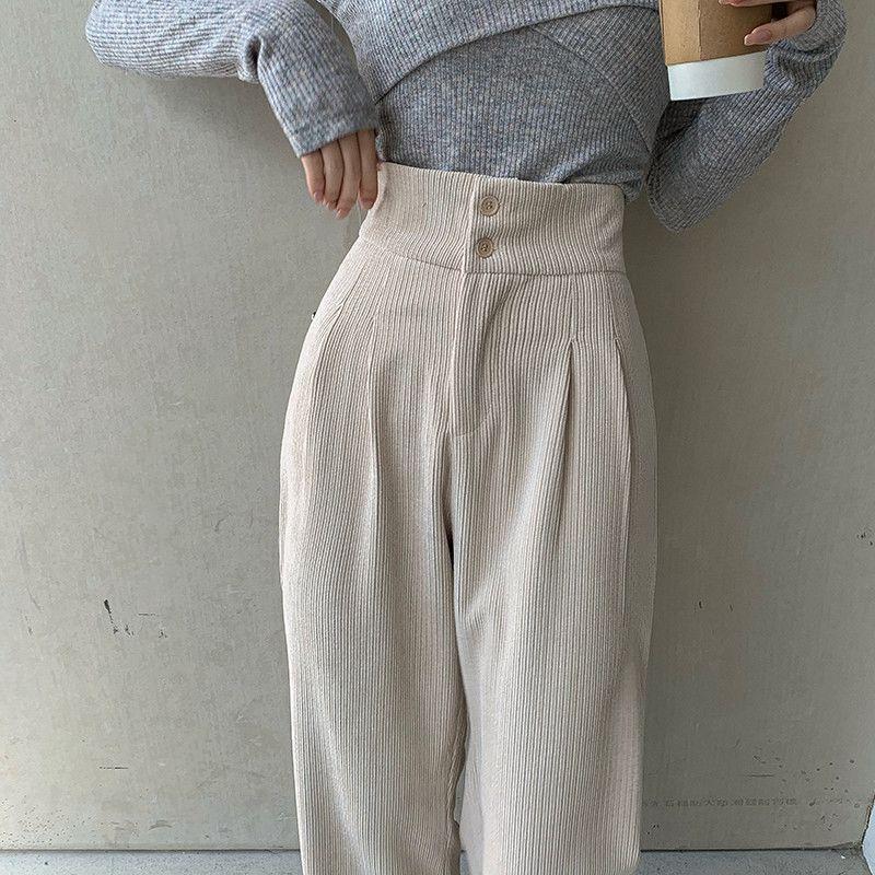 阔腿裤女士2021年新款百搭高腰宽松直筒显瘦休闲垂感灯芯绒长裤子