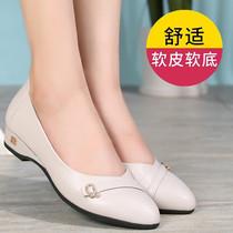 2020夏季新款妈妈鞋单鞋真皮软底舒适防滑中年百搭浅口平底女鞋