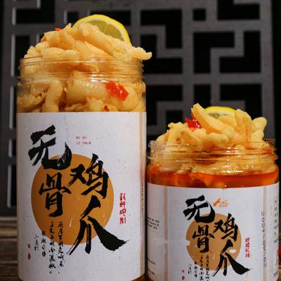 柠檬无骨鸡爪酸辣罐装网红零食去骨泡脚凤爪即食500gX1罐初秋美食