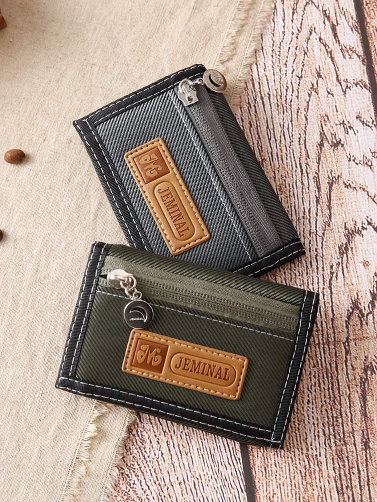 Change nylon canvas mens Casual Short 3-fold wallet student double zipper lattice Pocket Wallet trendy Wallet