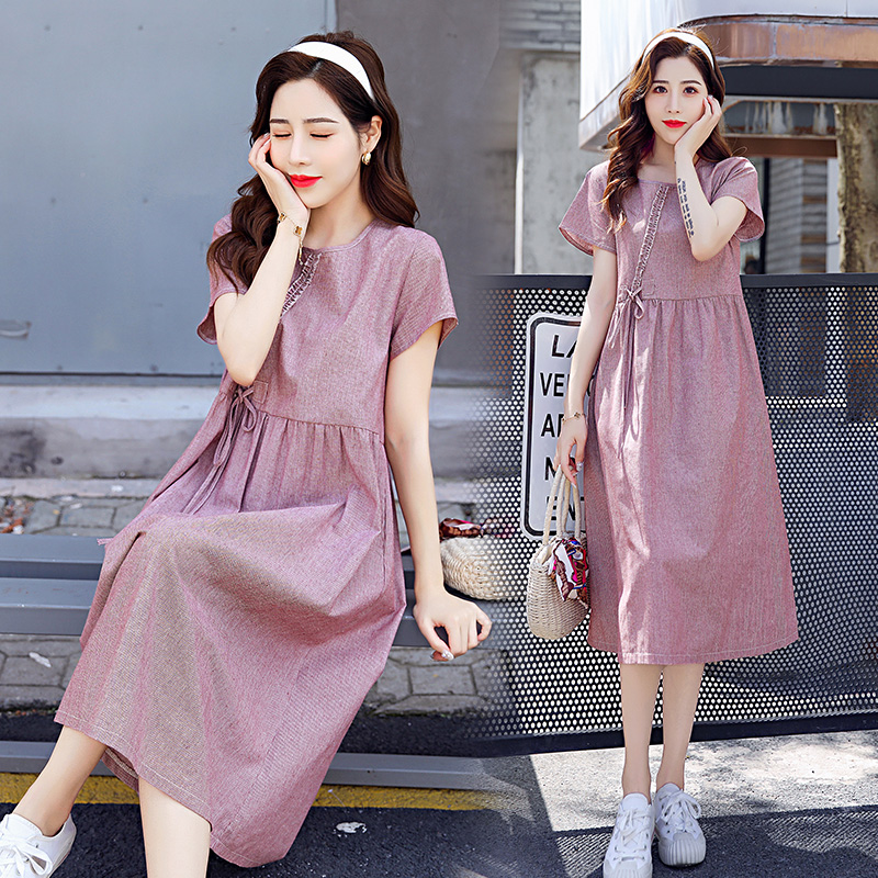 Pregnant womens dress summer fashion loose knee length skirt foreign air age reducing pregnant womens summer top summer skirt