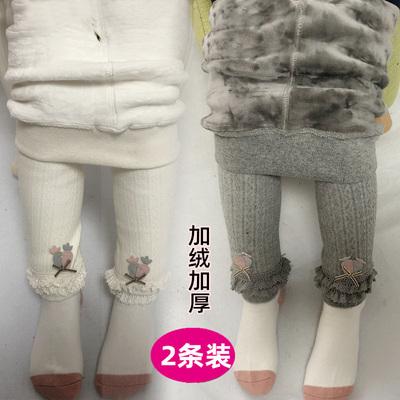 女童秋冬季加绒纯棉白色大pp连体袜