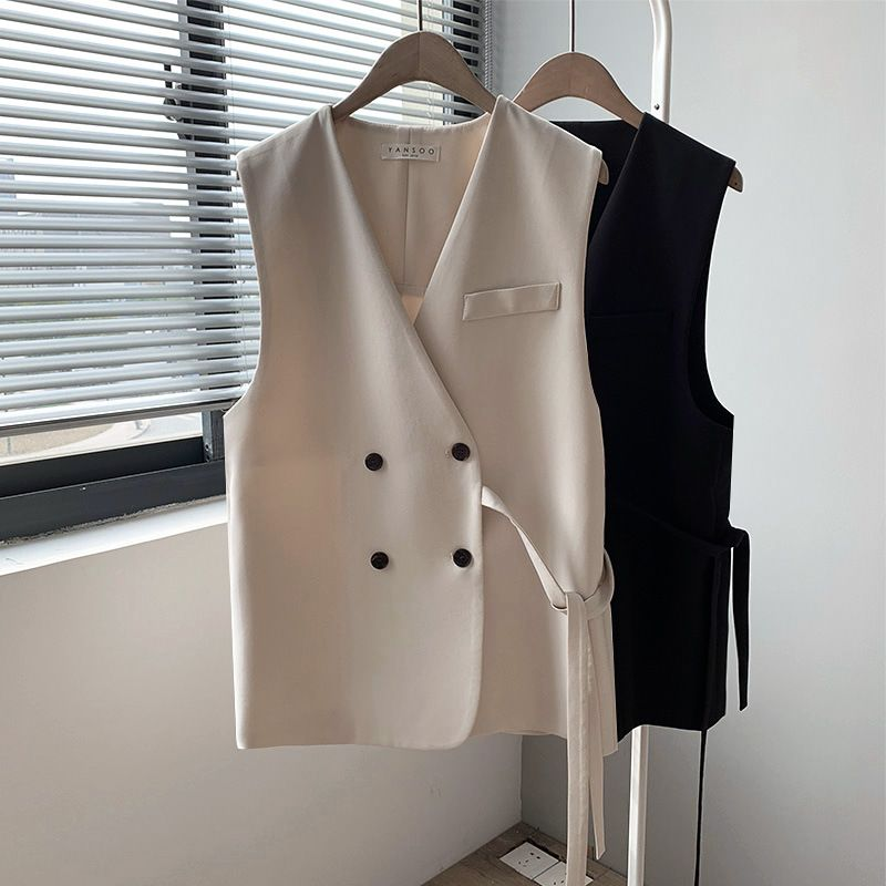 Designer style. Korean suit vest women short spring 2019 new loose V-neck versatile vest coat