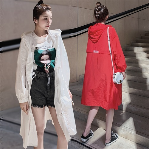 South Korea summer long sunscreen womens anti UV fashion Hooded Coat 2020 loose thin sunscreen trend
