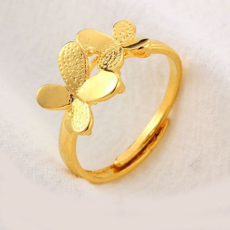 Net red Vietnamese sand gold ring for women to open their mouth students best friend Korean fashion ring for women and mens lovers gold plating