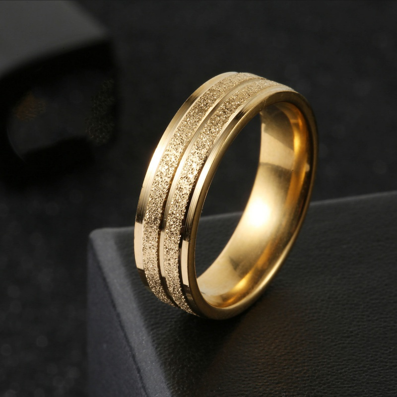 Shajin ring, female engagement couple, no fading, mens ring, fashion brand, frosted ring, student, Korean version, simple