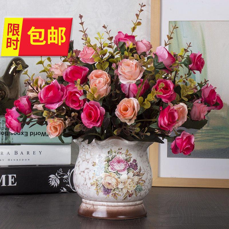 Table false decoration artificial ceramics European n artificial flowers handmade flowers tea table living room large decorative plastic home