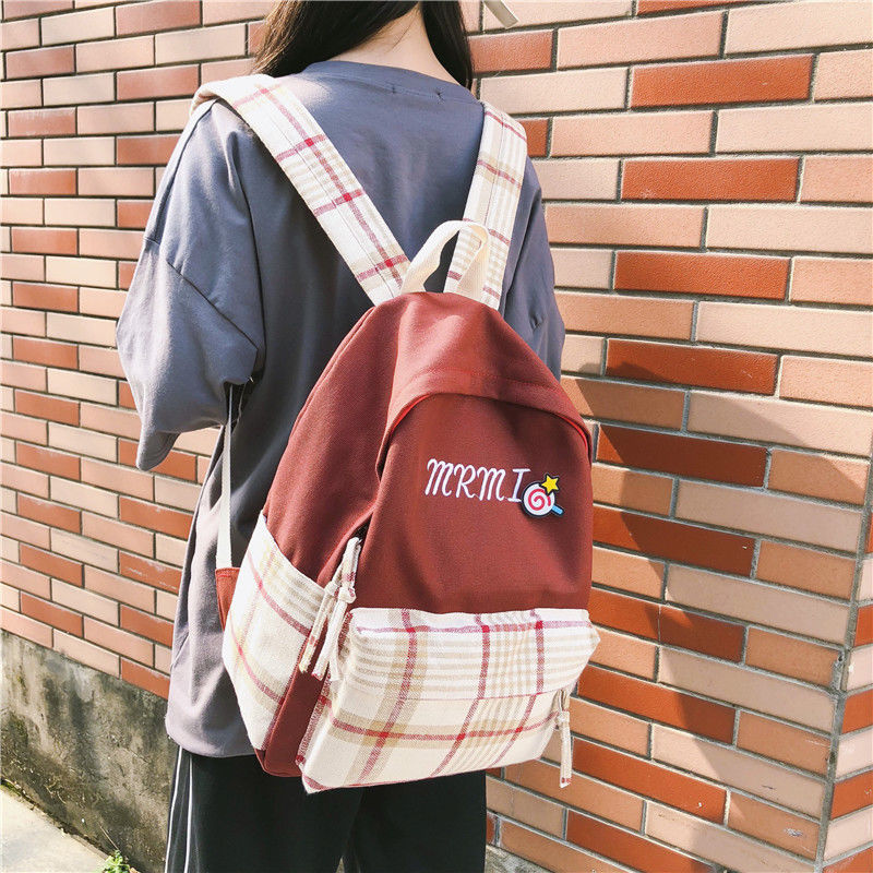 Old style schoolbag female Korean Plaid contrast Canvas Backpack