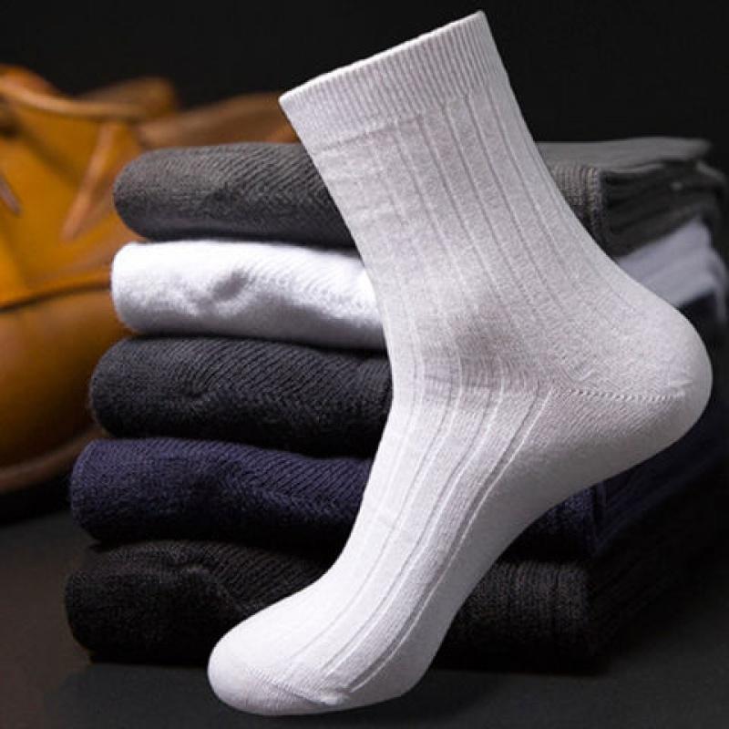 袜子男士商务中筒纯色棉质四季款防臭春夏运动长筒袜