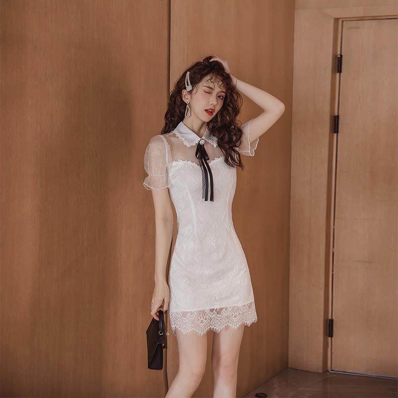 2020年新款裙子小个子性感蕾丝包臀裙成熟气质穿搭轻熟连衣裙夏