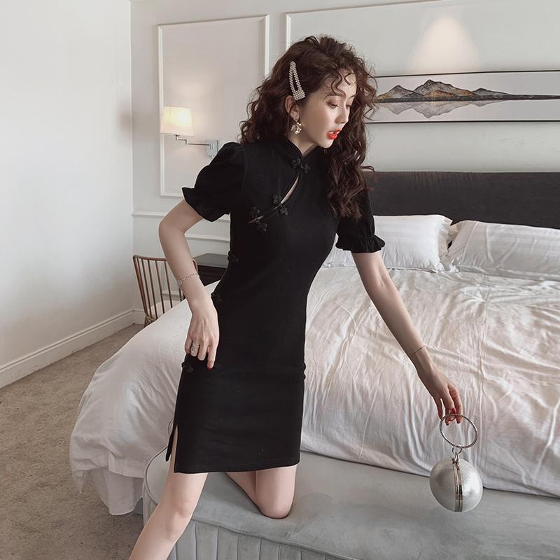 2020夏季新款连衣裙收腰显瘦短款复古包臀裙气质女装短袖a字裙子
