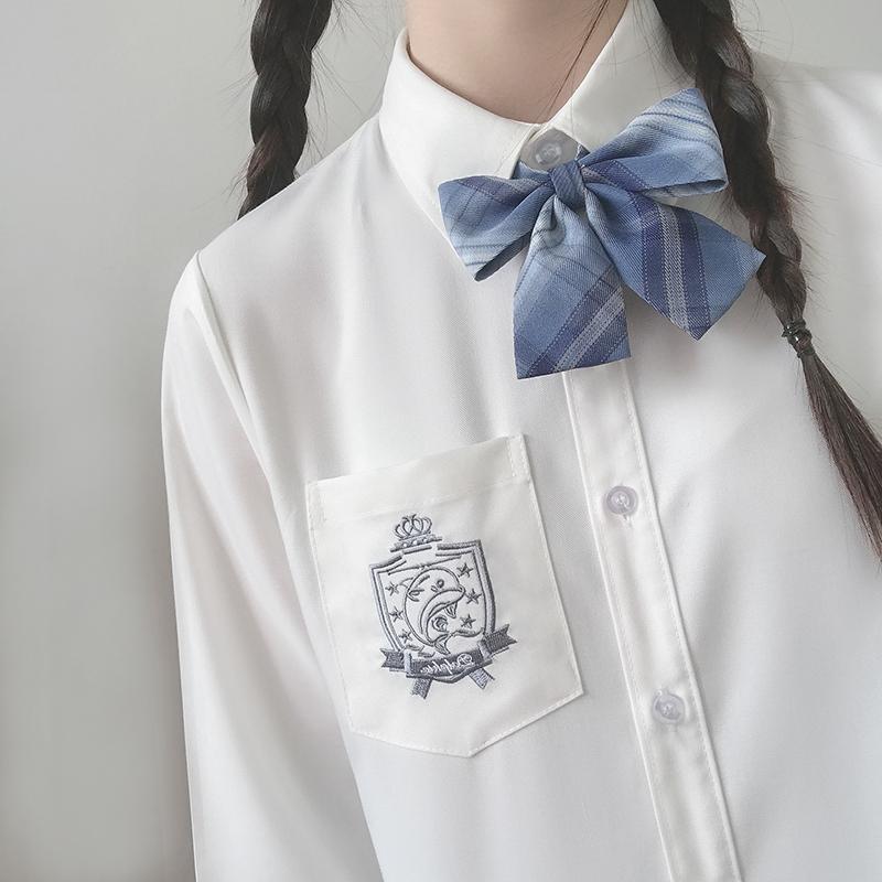 初町野原创刺绣基础款jk衬衫女长袖夏季日系内搭白色黑色短袖衬衣