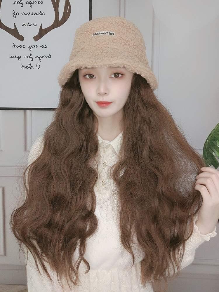 假发帽子一体女时尚羊羔毛绒渔夫帽子潮流网红长卷发玉米卷全头套