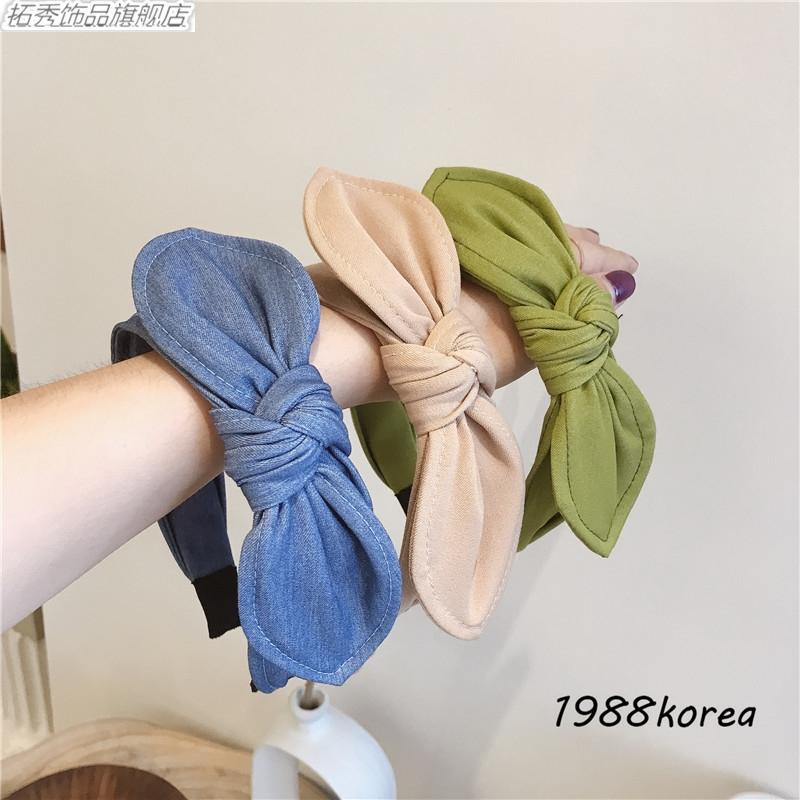 Tuoxiu South Korea imported denim wide brim hair hoop hair clip color bow rabbit ear press hair fashion Headband
