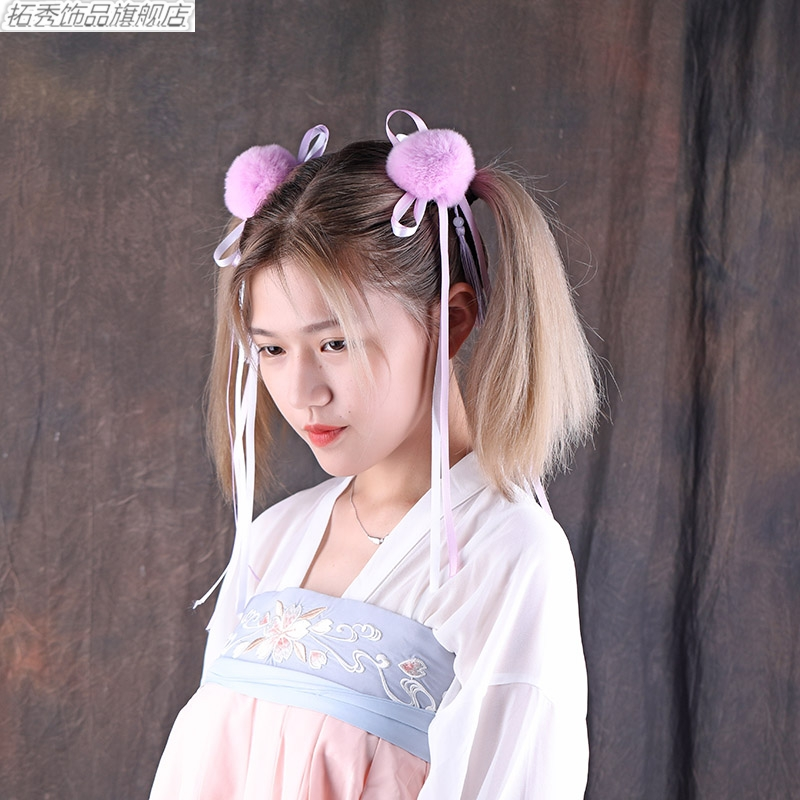 Tuoxiu ancient style hair band hairpin two dimensional surrounding girls cos bow ribbon Han suit with headdress