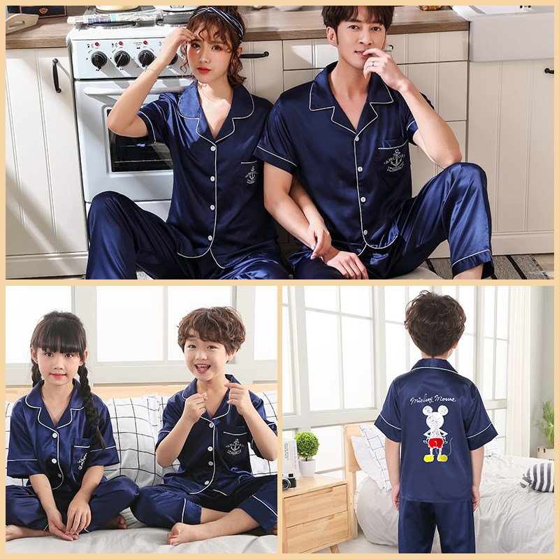 Parent child pajamas for a family of three summer short sleeve ice silk thin suit