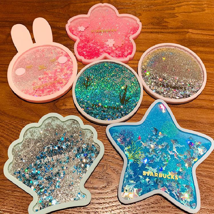 Starbucks coaster, ocean world quicksand coaster, cherry blossom rabbit, ocean silica gel, water cup, coffee cup, cushion, heat insulation