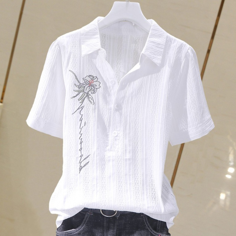 New Korean cotton shirt in summer 2020 fashionable and versatile, slim and slim, pure cotton shirt embroidered top women fashion