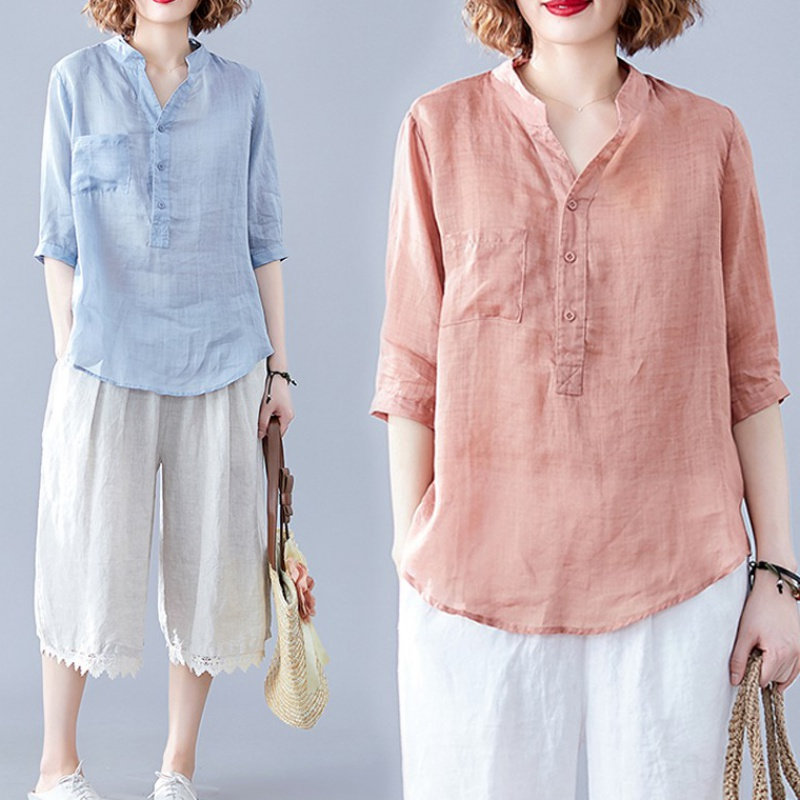 Cotton and linen shirt womens literature and art large womens dress in summer V-neck casual, loose and thin, cool and cool linen top is thin
