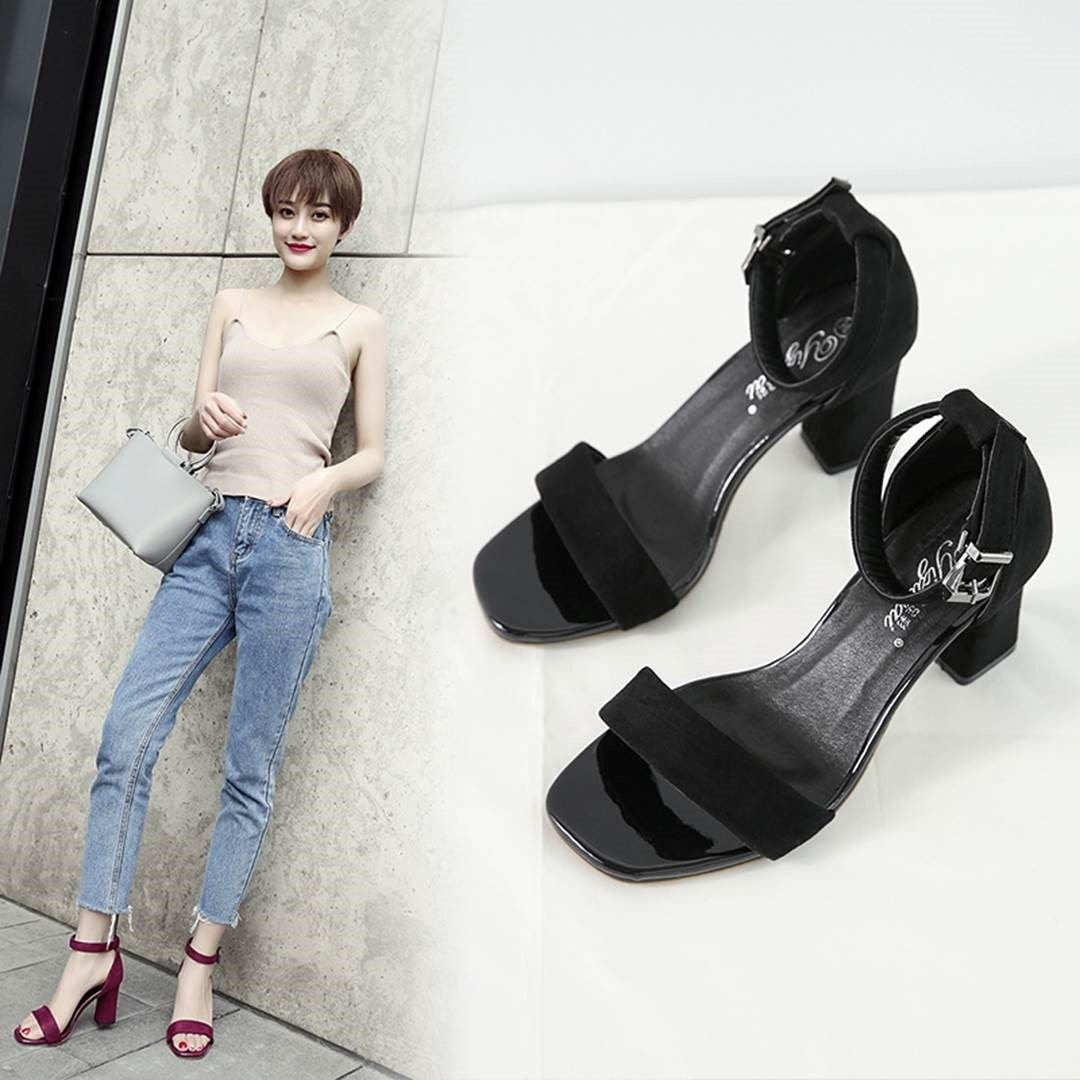 Summer sandals high heeled shoes instep high summer fat sisters upper fit fit for fat girls big foot shoes
