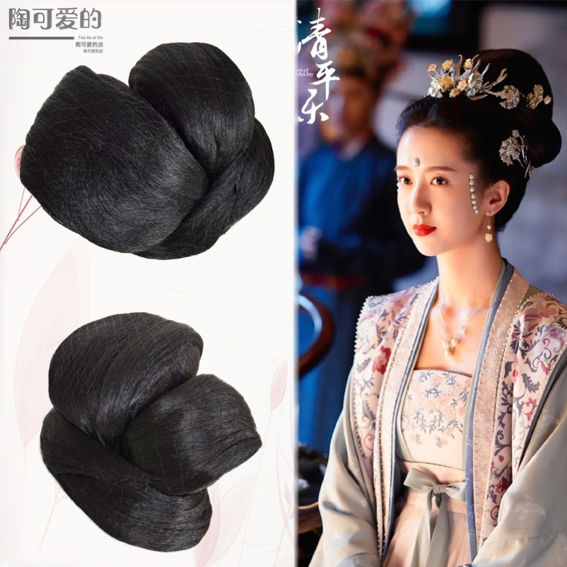 Song Dynasty contract Han clothing wig hairpin headband lazy contract hair bun headband childrens wig