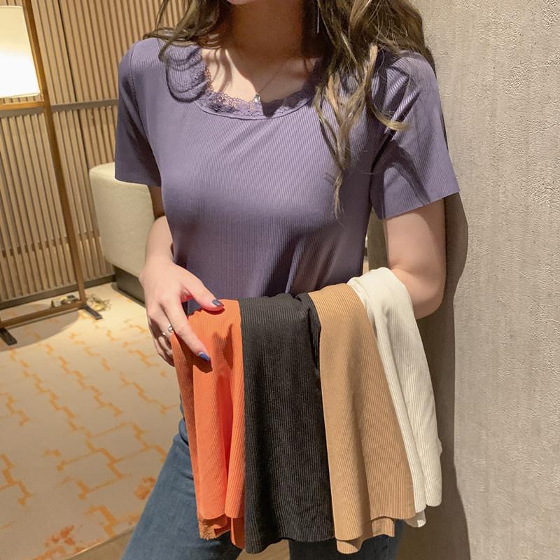 短袖2020年夏季新款女宽松打底衫白色t恤韩版潮短款网红ins上衣